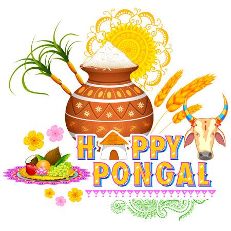 editable: illustration of Happy Pongal greeting background