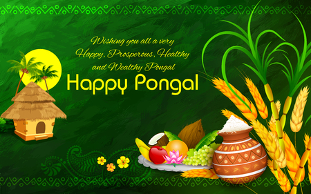 greeting people: illustration of Happy Pongal greeting background