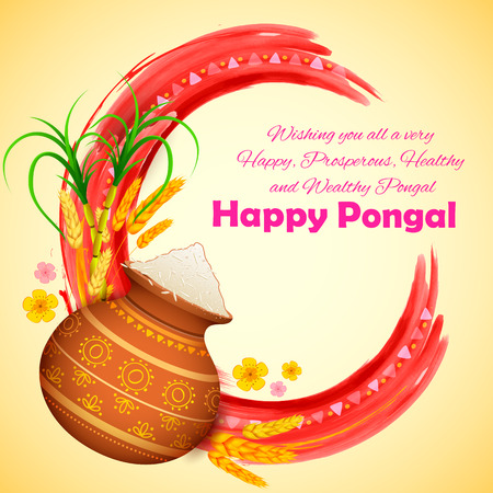 greeting: illustration of Happy Pongal greeting background