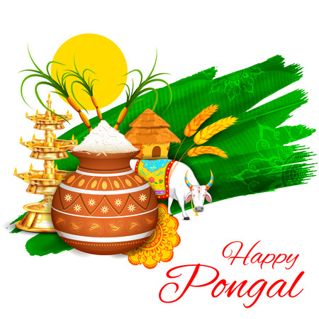 indian food: illustration of Happy Pongal greeting background