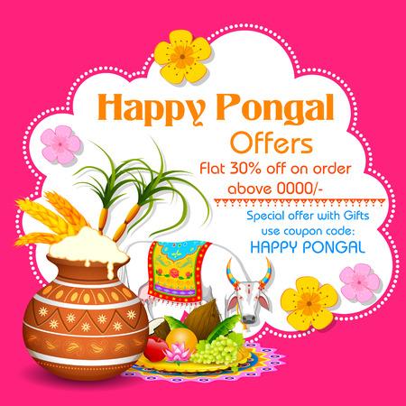 india food: illustration of Happy Pongal greeting background