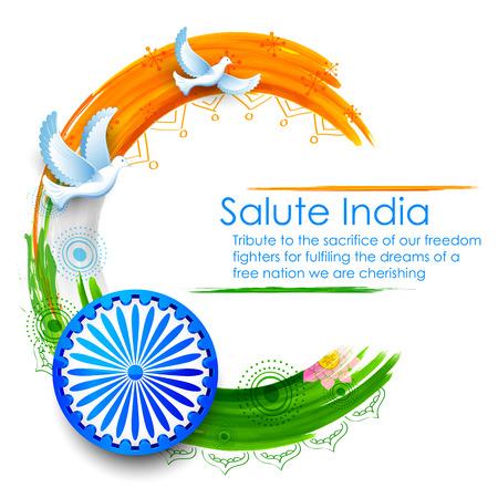 independencia: ilustración de vuelo de la paloma sobre el Indian fondo de la bandera tricolor que muestra la paz