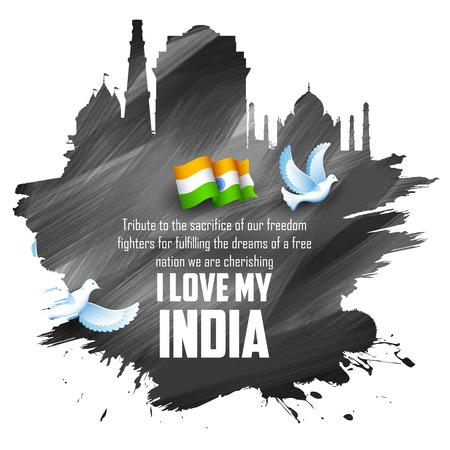 bandera de LA INDIA: Ilustración de fondo abstracto de la India con el monumento histórico Vectores