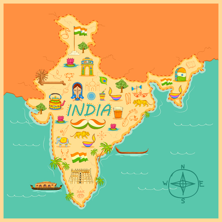 india people: illustration of kitsch art of forming map of India