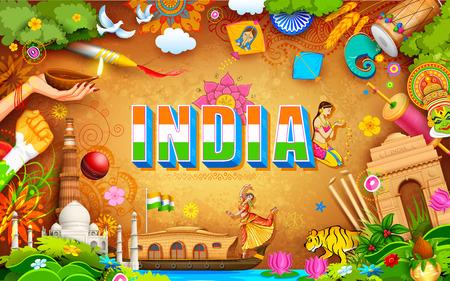 bandera de la india: Ilustraci�n de la India de fondo que muestra su incre�ble cultura