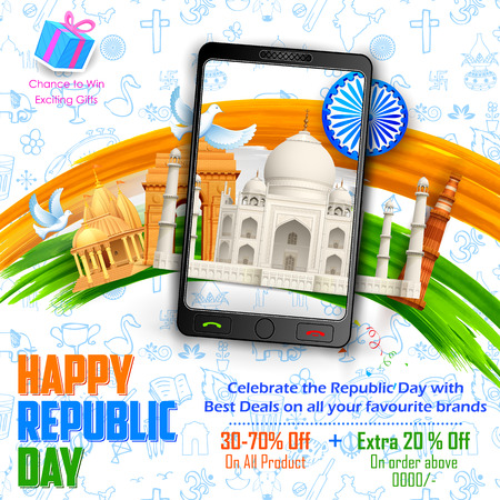 qutub minar: illustration of Republic Day sale banner with Indian historical monument