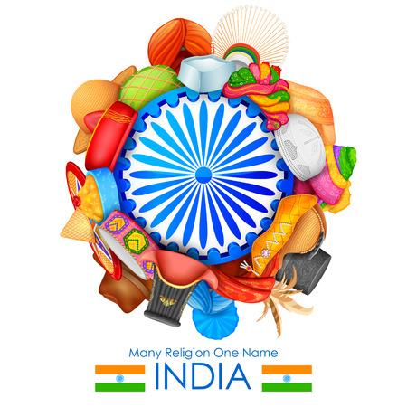 ilustración de cabestros de diferente religión india que muestra la unidad en la diversidad de la India
