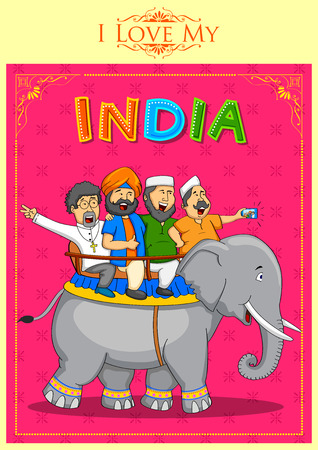 sikhism: illustration of people of different religion showing Unity in Diversity of India Illustration