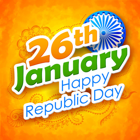 january: illustration of abstract Indian Republic Day background Illustration