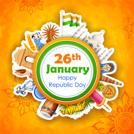 illustration of Happy Republic Day of India background Ilustração