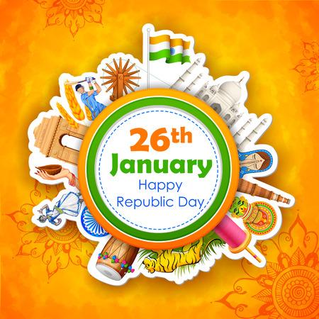 january: ilustraci�n de Feliz D�a de la Rep�blica de la India de fondo