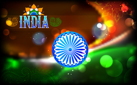 ashok: illustration of abstract Indian flag tricolor with Ashok Chakra Illustration