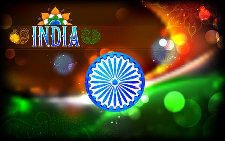 bandera de la india: ilustraci�n abstracta de bandera tricolor india con Ashok Chakra