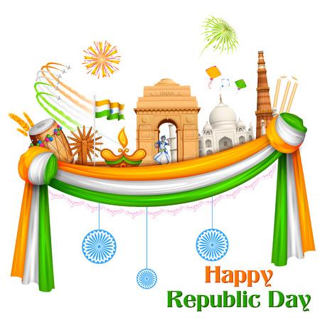 turismo: ilustración de Feliz Día de la República de la India de fondo