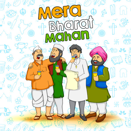 bharat: illustration of people of different religion showing Unity in Diversity of India with message Mera Bharat Mahan meaning My India is Great
