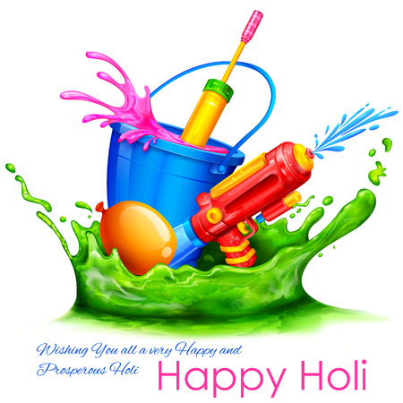 dhulandi: illustration of spalsh with color bucket and watergun in Holi background