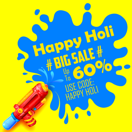 promotional offer: illustration of colorful splash coming out from pichkari in Holi promotional background Illustration