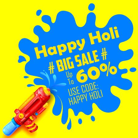 illustrazione di splash colorato che esce dal pichkari in background promozionale Holi