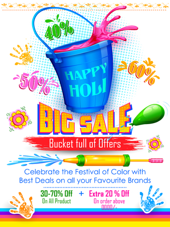 pichkari: illustration of colorful splash coming out from bucket and pichkari in Holi promotional background