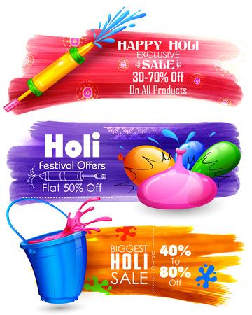 illustration de Holi bannière pour la vente et la promotion