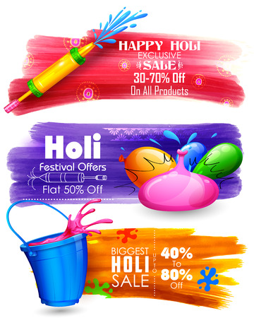 festival: illustration of Holi banner for sale and promotion