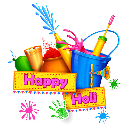 holi: illustration of spalsh with Holi object coming out from bucket