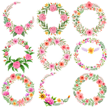 backgrounds: illustration of watercolor Vintage floral frame Illustration