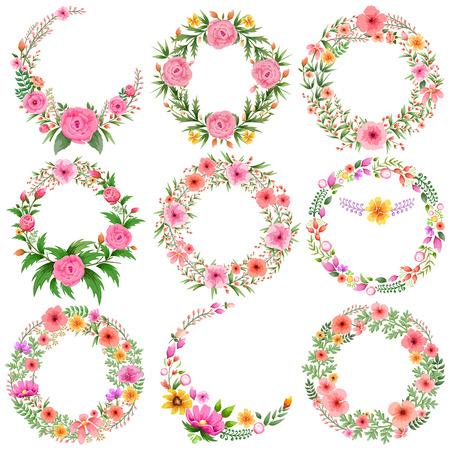 ilustración de la acuarela Marco floral de la vendimia Ilustración de vector