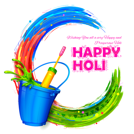 pichkari: illustration of splashy bucket with pichkari in Happy Holi background Illustration