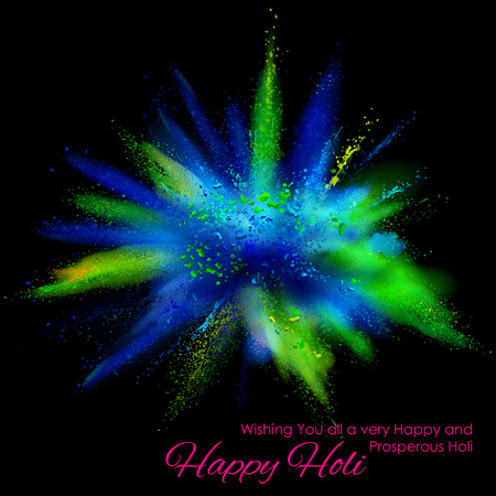 illustration of colorful gulal explosion for Happy Holi Background