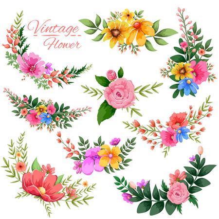 illustration of watercolor Vintage floral frame Illustration