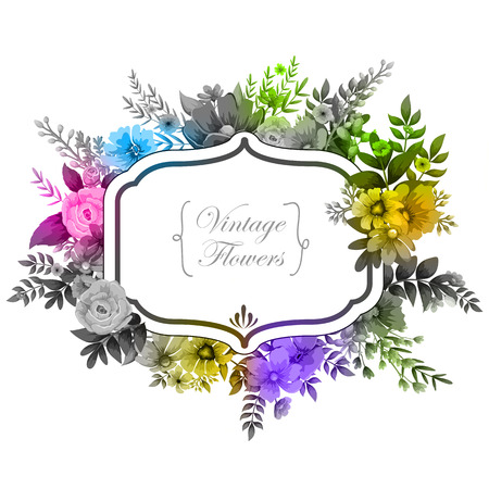 illustration of watercolor Vintage floral frame