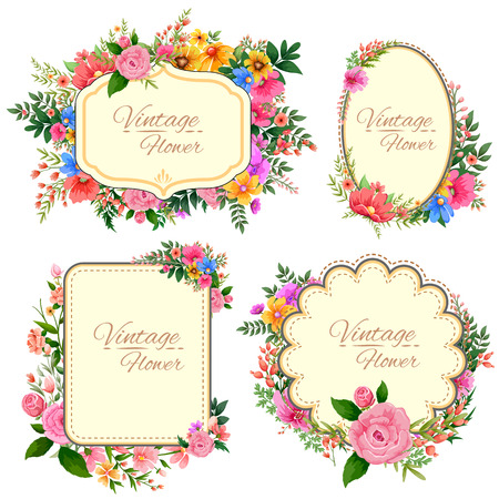 illustration of watercolor Vintage floral frame 矢量图像