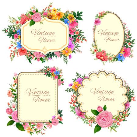 borde de flores: ilustración de la acuarela Marco floral de la vendimia