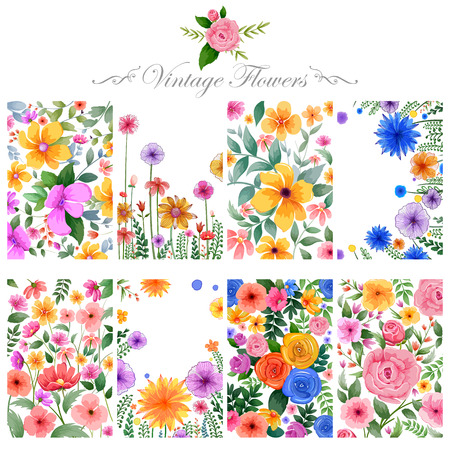 vintage invitation: illustration of watercolor floral background for designing purpose