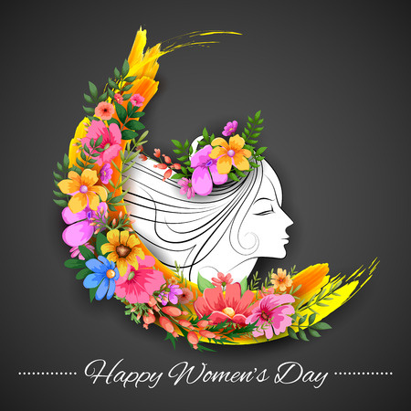 illustration of Happy Womens Day greetings background Ilustração