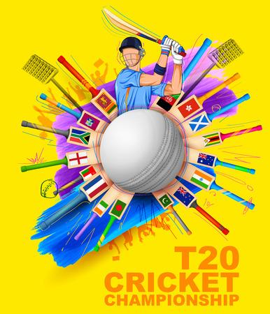 sportsperson: illustration of batsman playing cricket championship Illustration