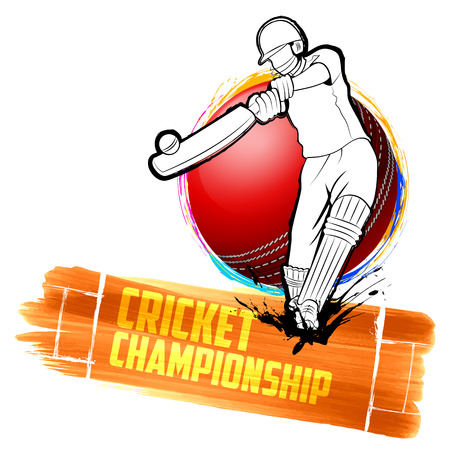 illustration of batsman playing cricket championship Иллюстрация