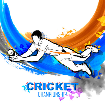 team effort: illustration of player fielding in cricket championship Illustration