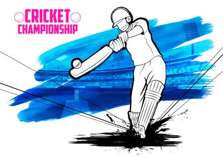 クリケット選手権を再生する打者のイラスト