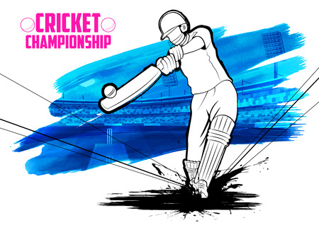 illustration of batsman playing cricket championship Çizim
