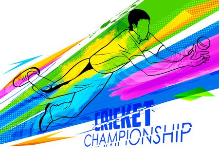 cricketer: illustration of player fielding in cricket championship Illustration