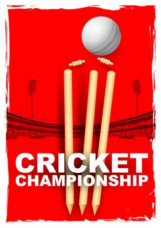 クリケットの切り株とスタジアムでボールが当たって金具のイラストレーション  イラスト・ベクター素材