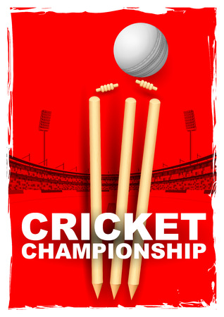 cricket: llustration of cricket stumps and bails hit by a ball in stadium Illustration