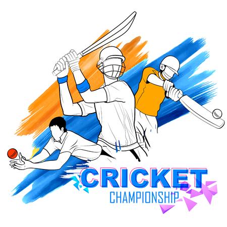illustratie van batsman playing cricket kampioenschap Stock Illustratie
