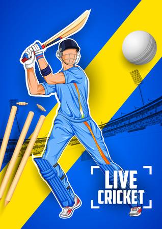 illustration of batsman playing cricket championship Illustration