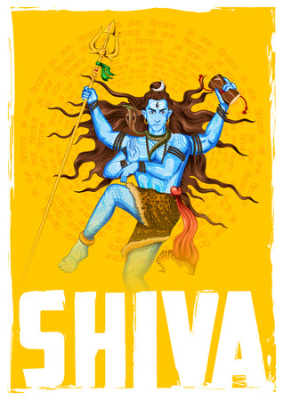 mantra: illustration of Lord Shiva, Indian God of Hindu with mantra Om Namah Shivaya ( I bow to Shiva )