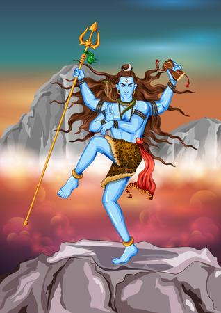 pilgrimage: illustration of Lord Shiva, Indian God of Hindu Illustration