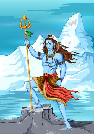 illustration editable: illustration of Lord Shiva, Indian God of Hindu Illustration