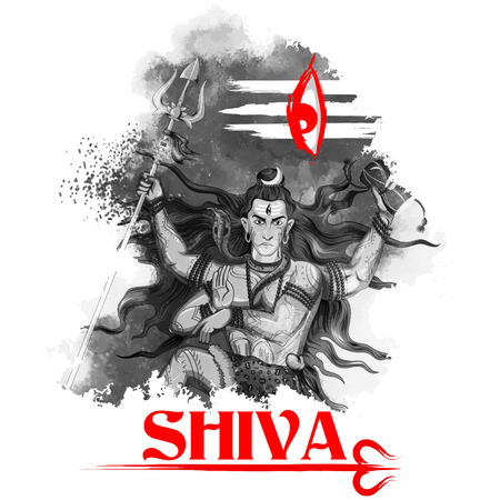 illustration of Lord Shiva, Indian God of Hindu Illustration